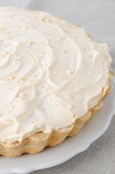 Free Lemon Tart With Meringue On A Plate Closeup Stock Image - 28602541