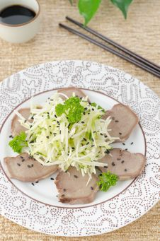 Oriental Salad With Beef Tongue, Celery And Cucumber Top View Royalty Free Stock Photos