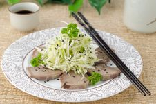 Free Oriental Salad With Beef Tongue, Celery And Cucumber Stock Image - 28602561