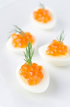 Quail Eggs With Caviar And Dill Royalty Free Stock Photos
