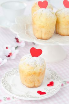 Free Rum Baba Decorated With Red Hearts On A Plate And A Few In The B Stock Photography - 28602632