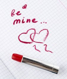 Free Sign On Heart In A Notebook And Red Lipstick In Valentine S Day Royalty Free Stock Image - 28602706