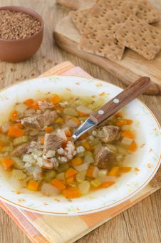 Free Soup With Beef And Buckwheat Groats In A Plate, Vertical Royalty Free Stock Photo - 28602715