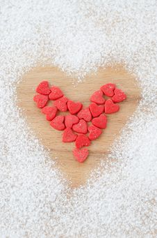Sugar Hearts In The Form Of Heart On A Board Sprinkled With Powd Stock Photo