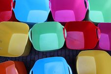 Free Colorful Plastic Baskets Royalty Free Stock Photos - 28605458
