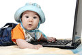 Free Smart Baby Is Working On Laptop Royalty Free Stock Photography - 28617017