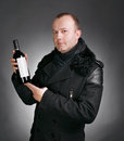 Free Man With Bottle Of Wine Royalty Free Stock Photos - 28619818