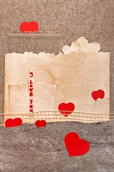 Free Art Greeting Card On Vintage Background With Heart, Old Paper, F Stock Images - 28611264