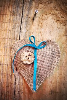 Free Decoration On Wooden Background With Fabric Heart Stock Photography - 28611422