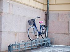 Free Bike Left Above A Bike Rack Royalty Free Stock Photography - 28611967