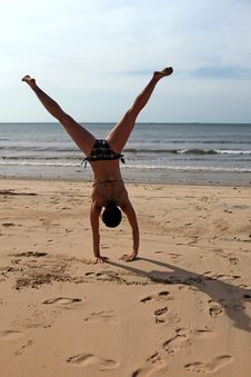 Free Cartwheels On The Beach Stock Image - 28612221