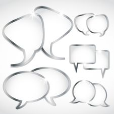 Free Shiny Silver Speech Bubbles Set Royalty Free Stock Image - 28617656