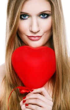 Free Valentine S Day.Beautiful Smiling Blonde Stock Photo - 28618270