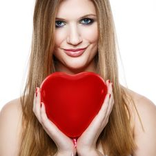 Free Valentine S Day.Beautiful Smiling Blonde Girl Royalty Free Stock Image - 28618286