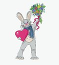 Free Spring Rabbit In Love Drawing Royalty Free Stock Photo - 28628585