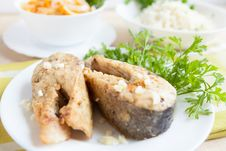 Free Fried Fish Slices On A Plate With Greens Stock Photography - 28620682