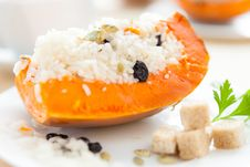 Free Pumpkin With Rice, Cooked In The Oven Stock Photography - 28620772