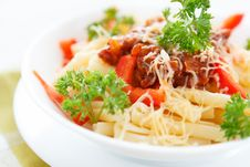 Free Pasta With Vegetable Sauce And Parmesan Cheese Stock Images - 28620784