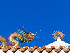Chinese Dragon With Sun Sculpture Royalty Free Stock Photography