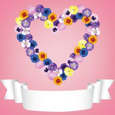 Flower Heart And Ribbon Stock Photos
