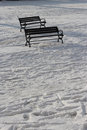 Free Empty Bench On The Snow Stock Photography - 28634112