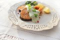 Free Roasted Salmon With Sauce Stock Image - 28639361