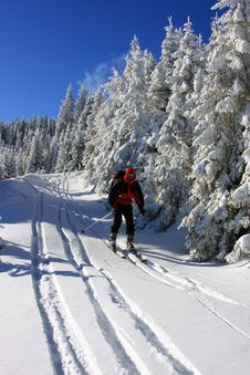 Skier Descending From The Mountain Stock Photography