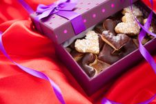 Free Valentine Cookies In Box Royalty Free Stock Images - 28633129