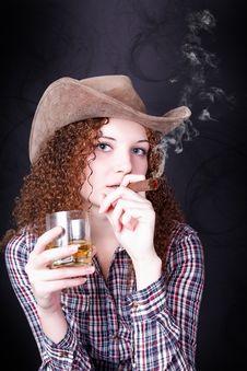 Pretty Girl Smoking A Cigar Stock Image