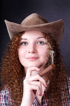 Pretty Girl With A Cigar Cowboy Stock Images