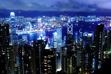 Free Hong Kong At Night Stock Photography - 28638052