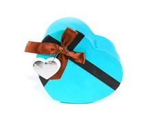 Free Blue Heart-shaped Box Royalty Free Stock Photo - 28638355