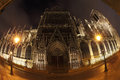 Free Notre Dame In Night With Fisheye On Paris Stock Photos - 28640493