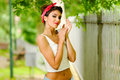 Free Pin-up Girl. American Style, In A Garden Royalty Free Stock Photography - 28645557