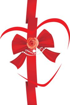 Free Red Bow With Rose And Strasses. Icon For Design Stock Photography - 28640862