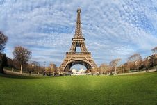 Eiffel Tower In Paris On The Winter With The White Clouds Royalty Free Stock Photos