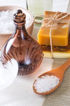 Handmade Soap And Sea Salt Stock Photos
