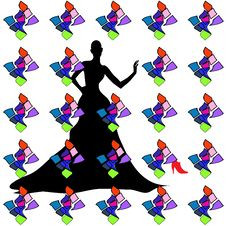 Silhouette Female Mannequin And Black Iron Hanger Stock Images
