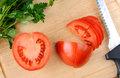 Free Cutting Board With Knife And Tomatoes Stock Photography - 28653722