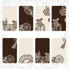 Free Ornamental Floral Card Set Royalty Free Stock Photo - 28653735