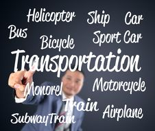 Free Business Man Touching Transportation Royalty Free Stock Photo - 28655625