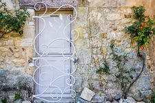 Provence White Door With Metal Bars Royalty Free Stock Photography