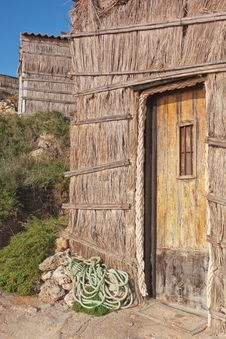 The Doors Of The Old Fisherman S House On The Beach. Royalty Free Stock Photos