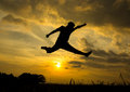 Free Silhouette Of Man Jumping Stock Images - 28661054