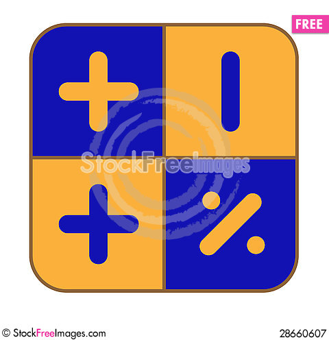 Free The Blue-and-yellow Calculator Royalty Free Stock Photography - 28660607