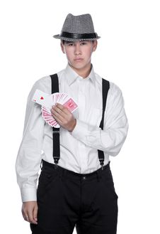 Free Young Man With Cards Royalty Free Stock Image - 28666756
