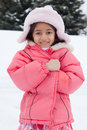 Free Happy East Indian Girl Playing In The Snow Royalty Free Stock Images - 28671979