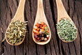 Free Variety Of Spices In The Spoons. Stock Photo - 28679700