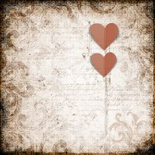 Grunge  Background With Paper Heart Royalty Free Stock Image
