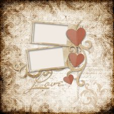 Free Grunge  Background With Stamp-frames And Heart Royalty Free Stock Images - 28678179
